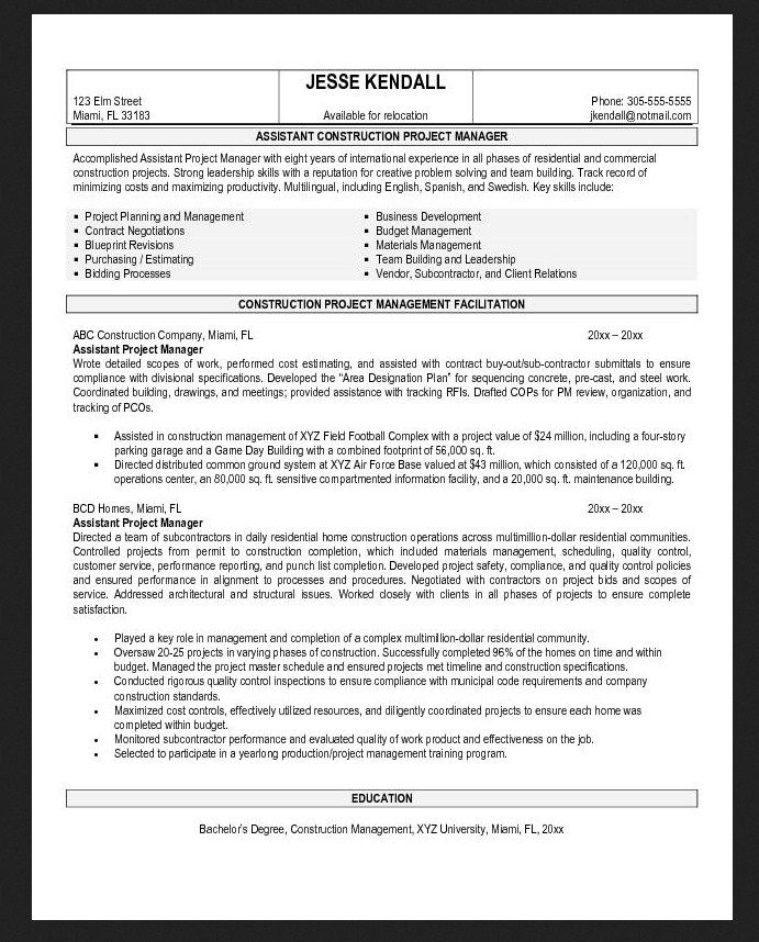 general assistant contractor resume objective examples resumes sample pdf
