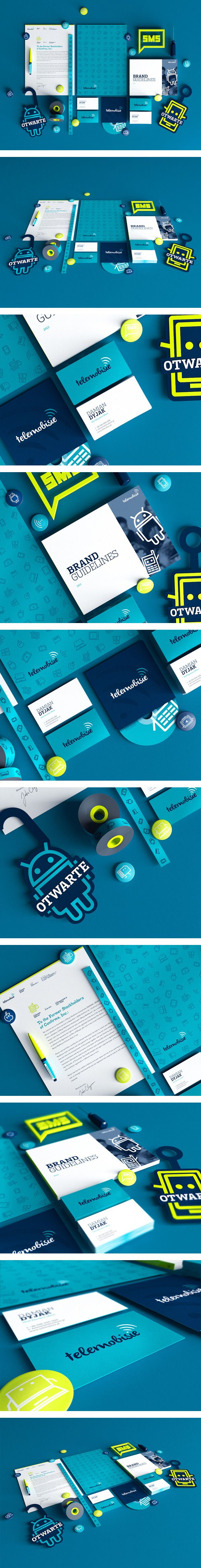 Telemobisie identity. Love the color combo, playful but still professional.