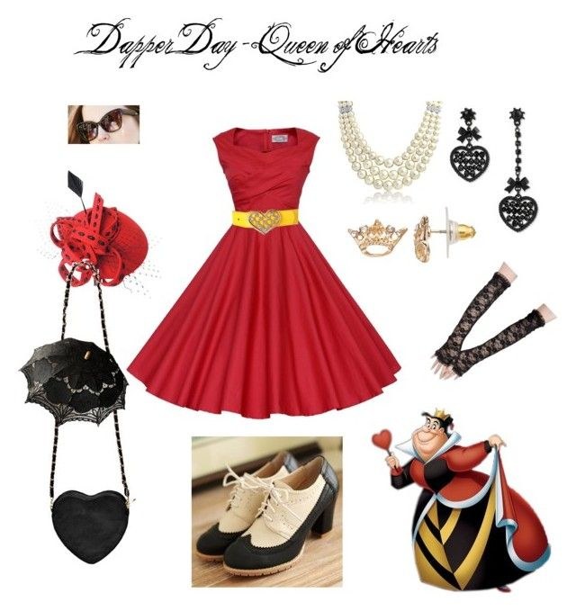 """Dapper Day - Queen of Hearts"" by owlqween ❤ liked on Polyvore featuring Betsey Johnson, Juicy Couture, Retrò, Bling Jewelry, Boohoo, Nouvelle Footwear, women's clothing, women, female and woman"