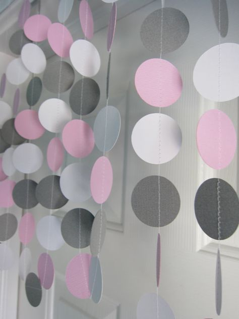 Pink and Gray Garland, Paper Garland, Birthday Garland, Bridal Shower Garland, Baby Shower Decorations, Elephant Theme Shower on Etsy, $8.00