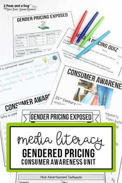 Media Literacy & Consumer Awareness - Help your students develop a deeper understanding of media literacy and consumer awareness with this engaging lesson on how prices on consumer products are different for men and women. This lesson also shows students the different techniques marketers use to get consumers to purchase products. #medialiteracy #digitalliteracy #lessonplans