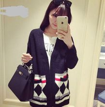 new Custom autumn winter Long sleeve geometry print with pocket knitting cardigan wholesale Best Buy follow this link http://shopingayo.space