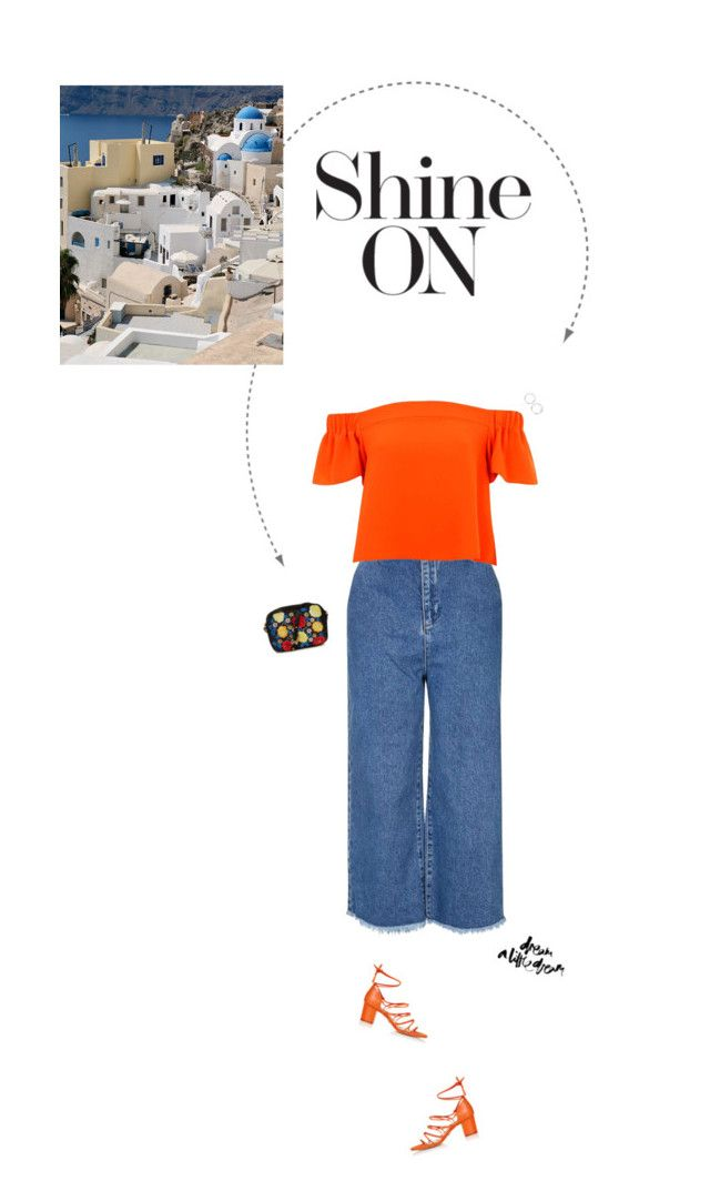"""Orange Bardot Top & Blue Raw Hew Culottes."" by xabbielou ❤ liked on Polyvore featuring Topshop"