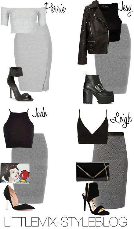 *REQUESTED* LM Inspired with a Grey Pencil Skirt by littlemix-styleblog featuring a topshop top Topshop black crop shirt / Topshop top / River Island spaghetti strap crop top, $23 / Jersey knit top, $15 / Topshop studded moto jacket / Reed Krakoff knee length pencil skirt / L K Bennett fitted pencil skirt, $110 / Cameo Rose knee length bodycon skirt, $25 / Kurt geiger shoes, $415 / Jeffrey Campbell chunky black boots / Kendall & Kylie ankle cuff shoes /Dollhouse ankle cuff shoes / RED ...
