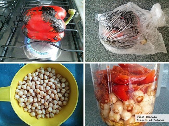 Preparación hummus pimiento