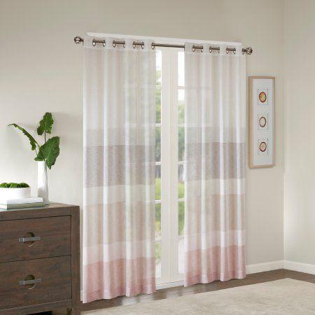 Home Essence Jacey Woven Faux Linen Striped Window Sheer, Beige