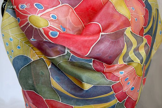 Hand Painted Silk Scarf. Graphic Red Green Blue by Bettineum, $70.00