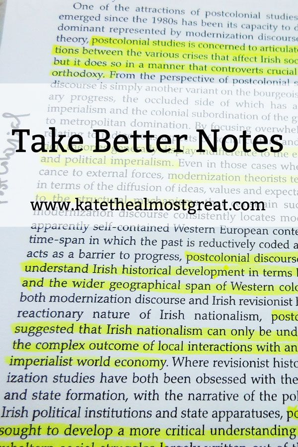 Take Better Notes on Your Readings - Note taking tips for students - college success tips