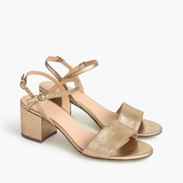 JCrew Strappy blockheel sandals 60mm in metallic gold leather