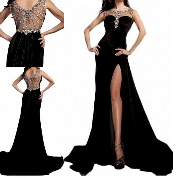 Long black sexy mermaid Prom / Ball / Homecoming / Graduation / Cocktail / Evening / Formal / Party Dress on Etsy, $159.00