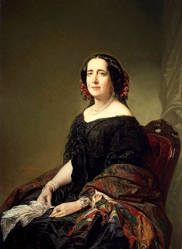 FEDERICO DE MADRAZO: Gertrudis Gómez de Avellaneda 1857   Óleo sobre lienzo   Inv. 3569
