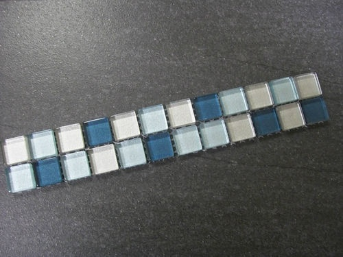 glass mosaic border tiles indian summer aqua mix 30cm x 5cm x 8mm thick - Bordre Bad Bilder