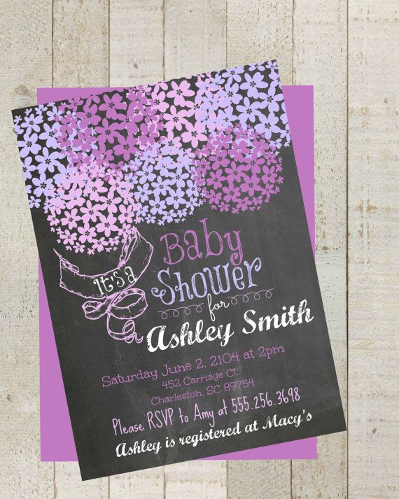 Rustic Chalkboard Lavender Baby Shower  by themilkandcreamco, $10.00