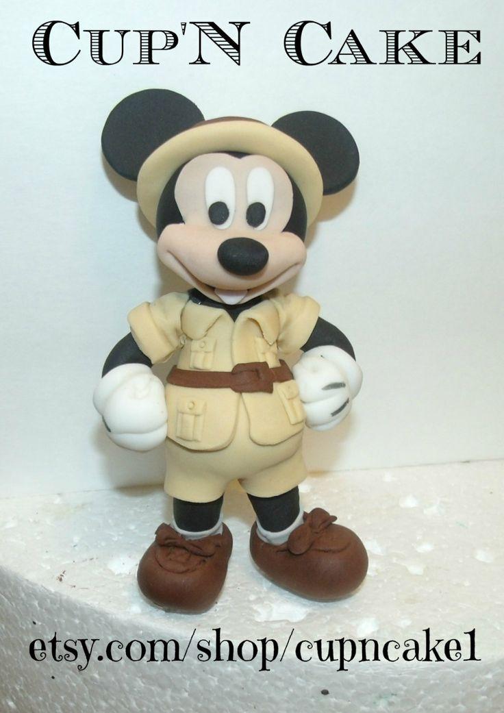 Fondant safari Mickey mouse cake topper by Cupncake1