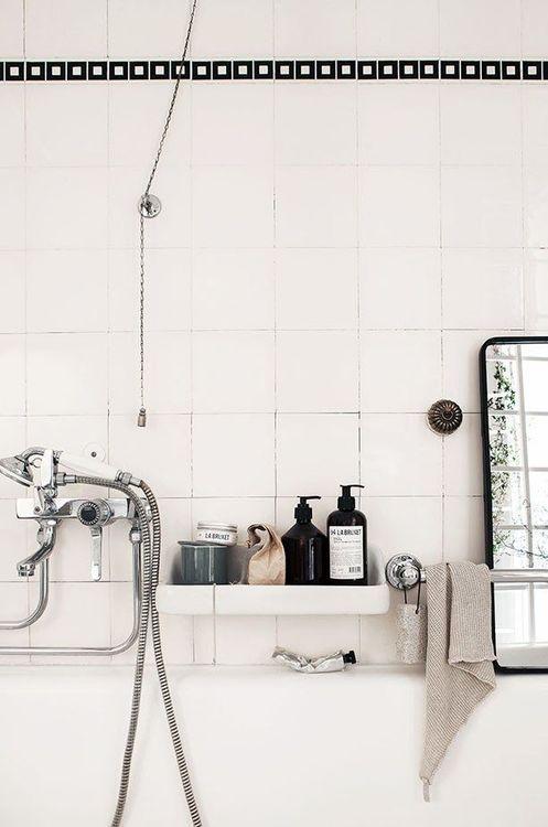 Bathroom with black & white tile
