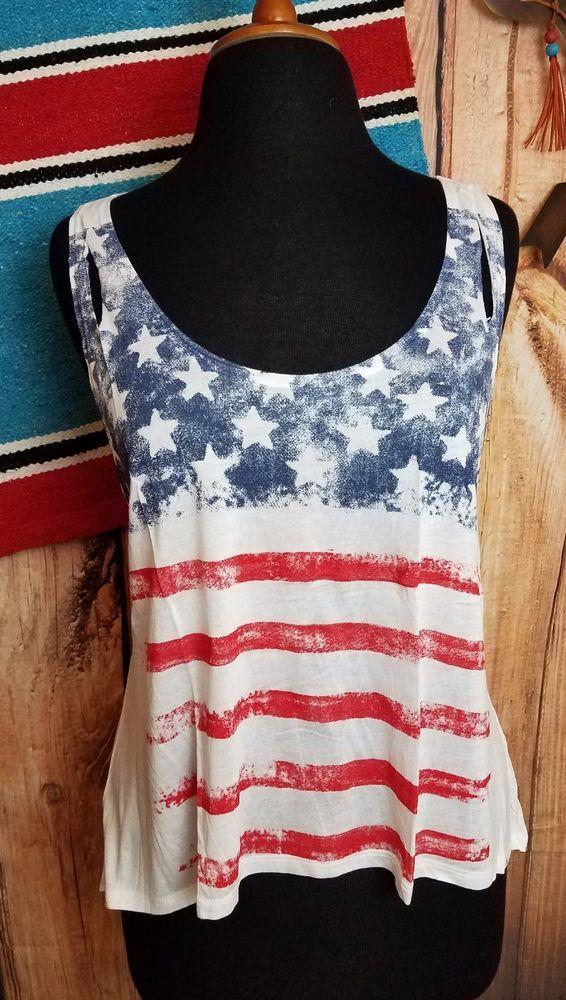 COWGIRL gYPSY AMERICAN FLAG RED WHITE BLUE Patriotic Tank Top Western MEDIUM #popularbasics #TANK