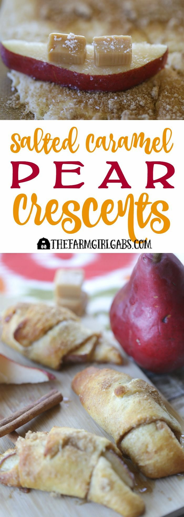 These Salted Caramel Pear Crescents, made with store-bought crescent rolls, are a perfect quick and easy fall recipe. This dessert only takes 10 minutes to prepare!