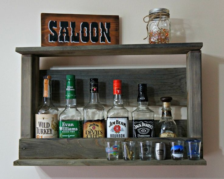 Diy pallet wine bottle and wine glass storage bar for Diy liquor bar