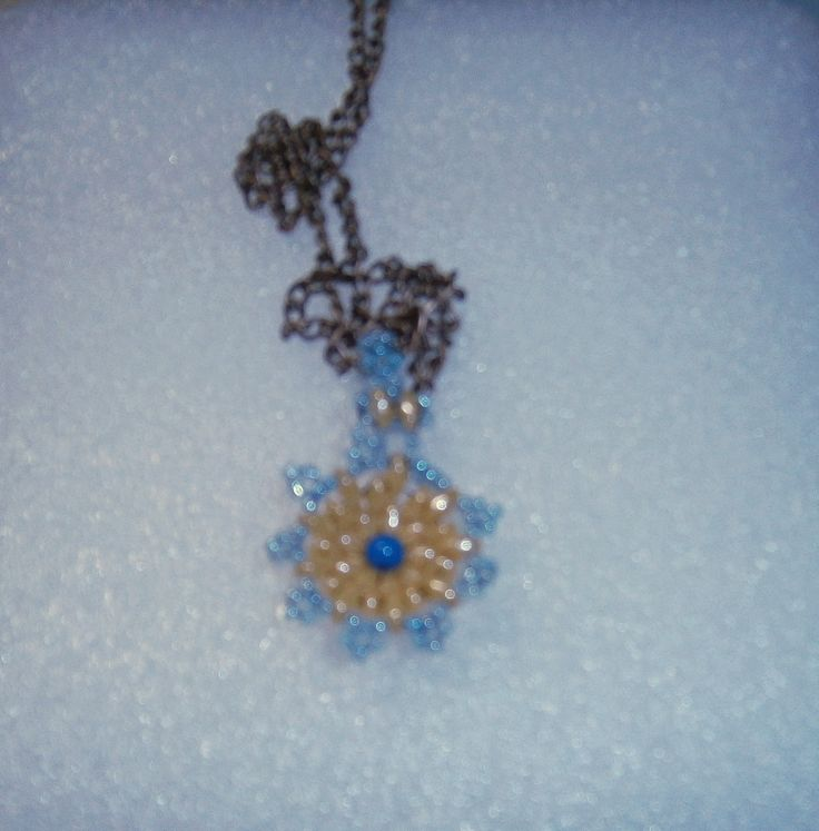 Necklace with snowflake pendant by Sophiecadesigns #superduobeads #crystal #moonstone #blue #handmade #necklace