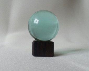 """Natural obsidian light blue crystal healing sphere 2 """" ( est )"""