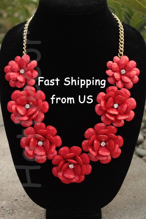 Red Bubble necklace Statement necklace rose Flower by HotDecor, $19.99