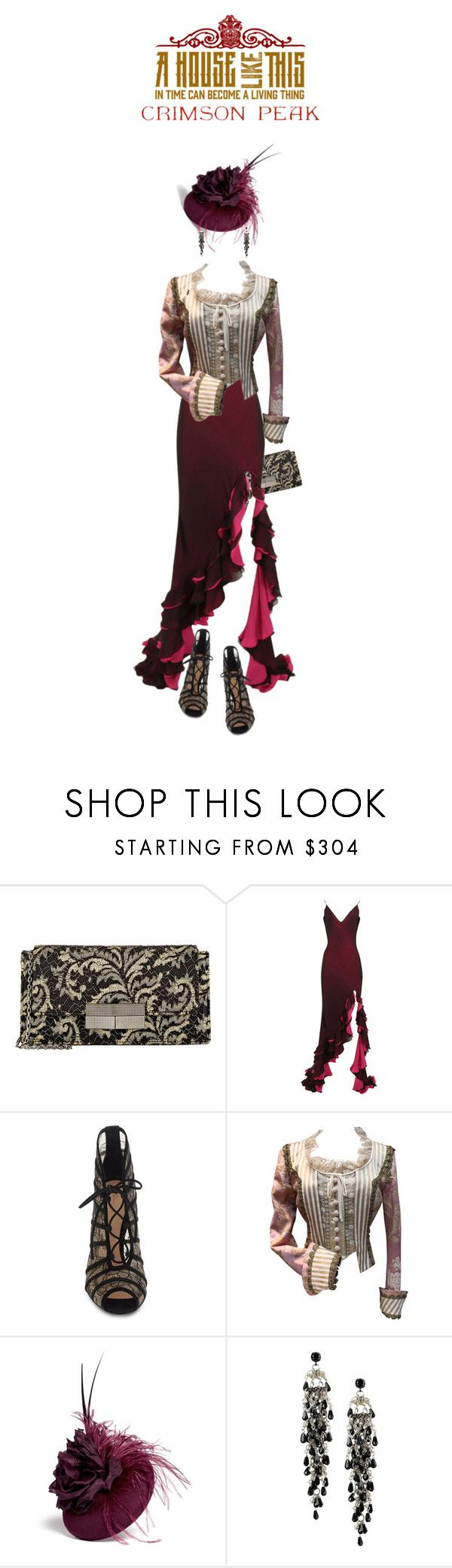 """Indulge Your Dark Side with Crimson Peak : Contest Entry"" by zayngirl1dlove ❤ liked on Polyvore featuring J. Mendel, Maria Grachvogel, Gianvito Rossi, Moschino, Piers Atkinson, First People First and vintage"