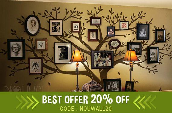 Photo Frame Family Tree Wall decal Wall Sticker Art , Living Room WallDdecals, Wall Decor, Home Decor, Wallpaper