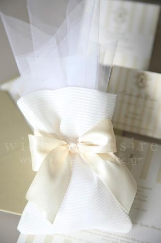 μπομπονιέρες γαμου πουγκι με τούλι γαλλικό και προσκλητήρια γαμου