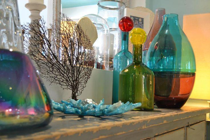 handmade recycled bottles by  CHORA Art Home Design