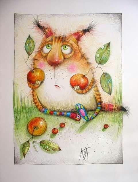 Кот с яблочками