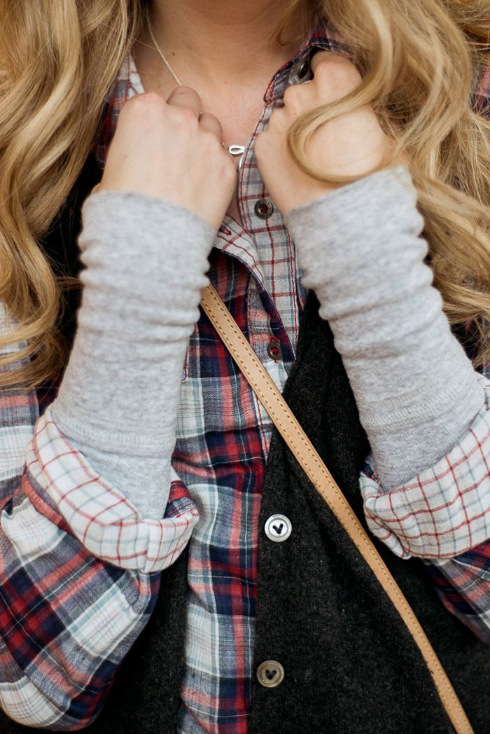 Winter casual layers: long sleeve gray tee under a flannel plaid shirt and cozy gray cardi