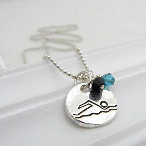 Swim Necklace Hand Stamped Silver on Etsy by loveyourathlete, $30.00