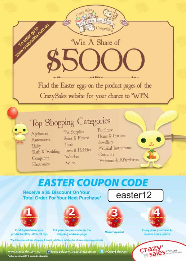 Page 8   Easter Competition, CrazySales categories and big savings with the Easter Coupon Code.