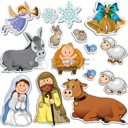 Conjunto de pegatinas de Navidad que representan a los personajes de la Sagrada Familia Gradiente m Foto de archivo