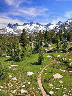 View of the Ritter Range along the Pacific Crest Trail, in the Ansel Adams Wilderness
