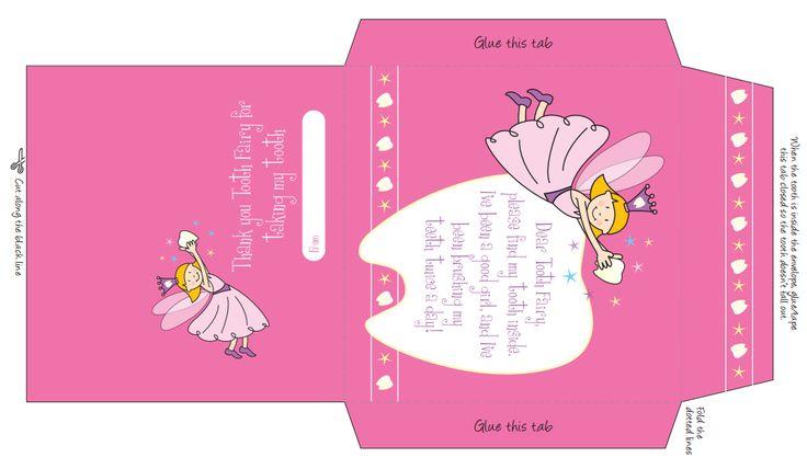 envelope - pink | Tooth Fairy Printables & Crafts | Pinterest