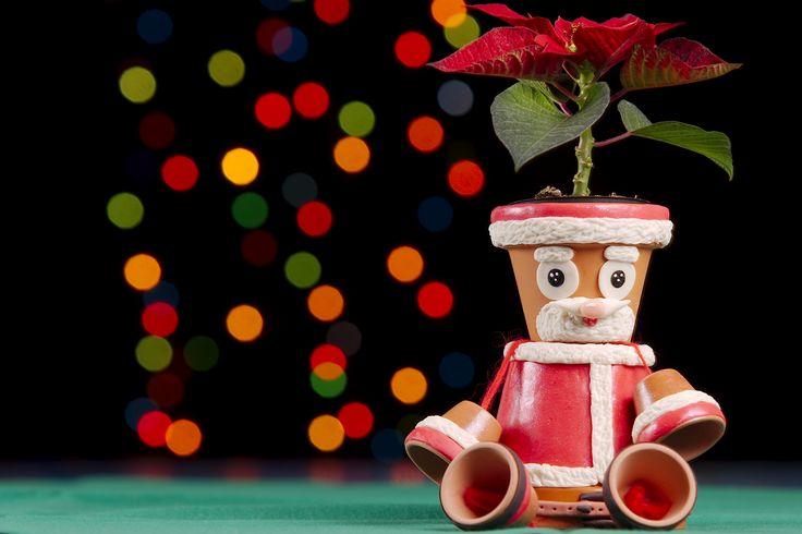 Babbo Natale porta mini piantina, realizzato con vasetti in terra cotta e decorato con pasta di mais.
