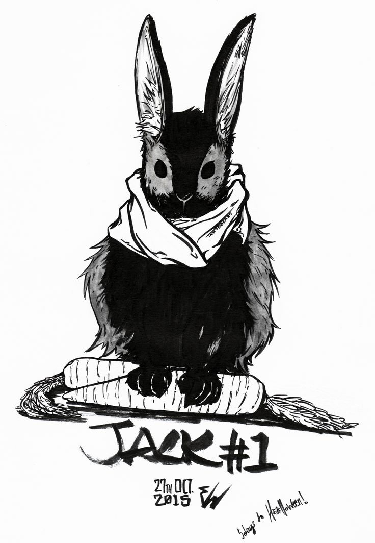 #inktober2015 -27-  Jack #1 is for Jack the rabbit, who's all scarfed up and ready to face the October chill.