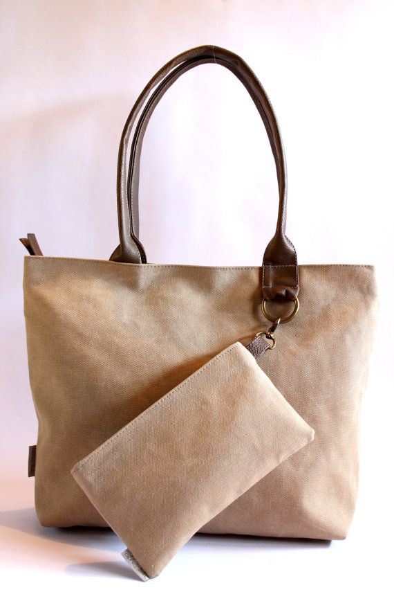 Canvas Tote with Make Up Purse, Woman Vegan Purse, Beige Woman Handbag on Etsy, $100.00