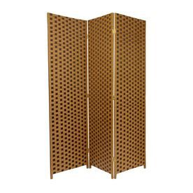 Oriental Furniture 3-Panel Brown Wood And Rattan Folding Indoor Privac