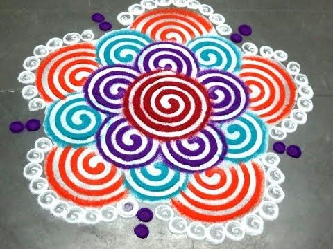 Freehand rangoli designs with colours - YouTube