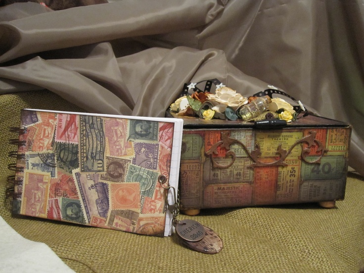 Altered Cigar Box and Journal using Tim Holtz paper line!