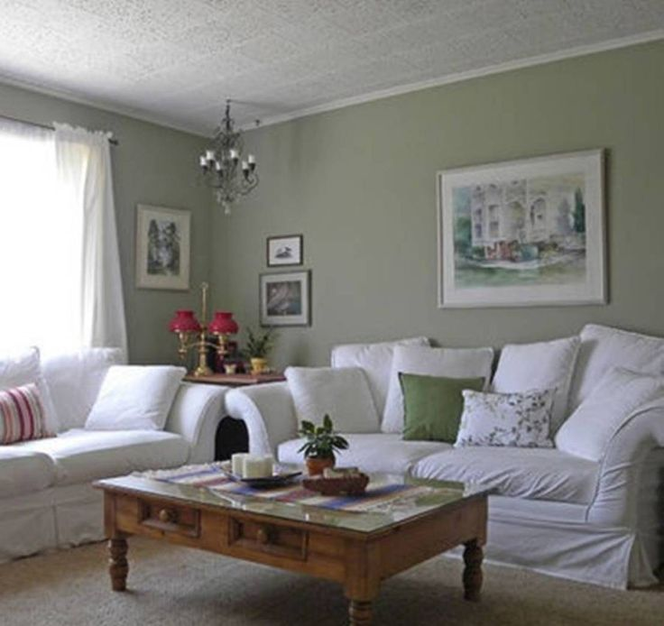 White Green Living Room: Sage Green And White Living Room