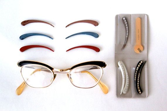 British made Filora Interchangeable cateye frames and trims.  I wish I had seen them before they sold.  J'adore!