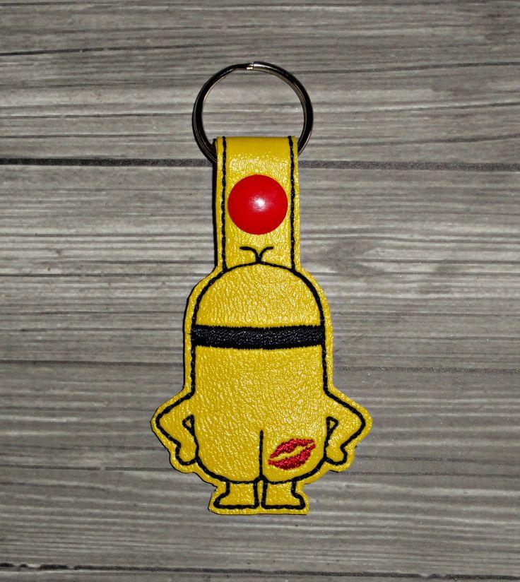 Kiss My A$$ Minion Keychain ITH Embroidery Design | Uncle Matt's Crib