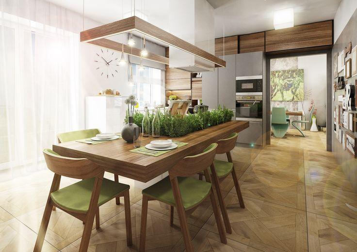Vizualizace kuchyně s jídelní částí a bylinkovou zahrádkou