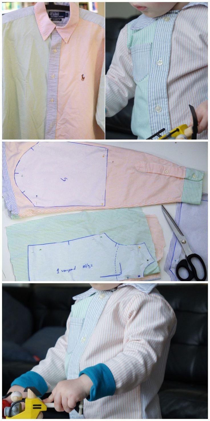 Refashion: maak van een herenoverhemd een jongensoverhemd. Wat eerst van papa was wordt nu van de kleine :)