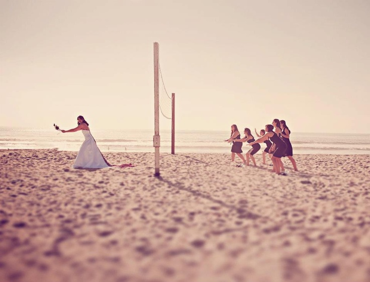 Beach Wedding Bridal Party Volleyball