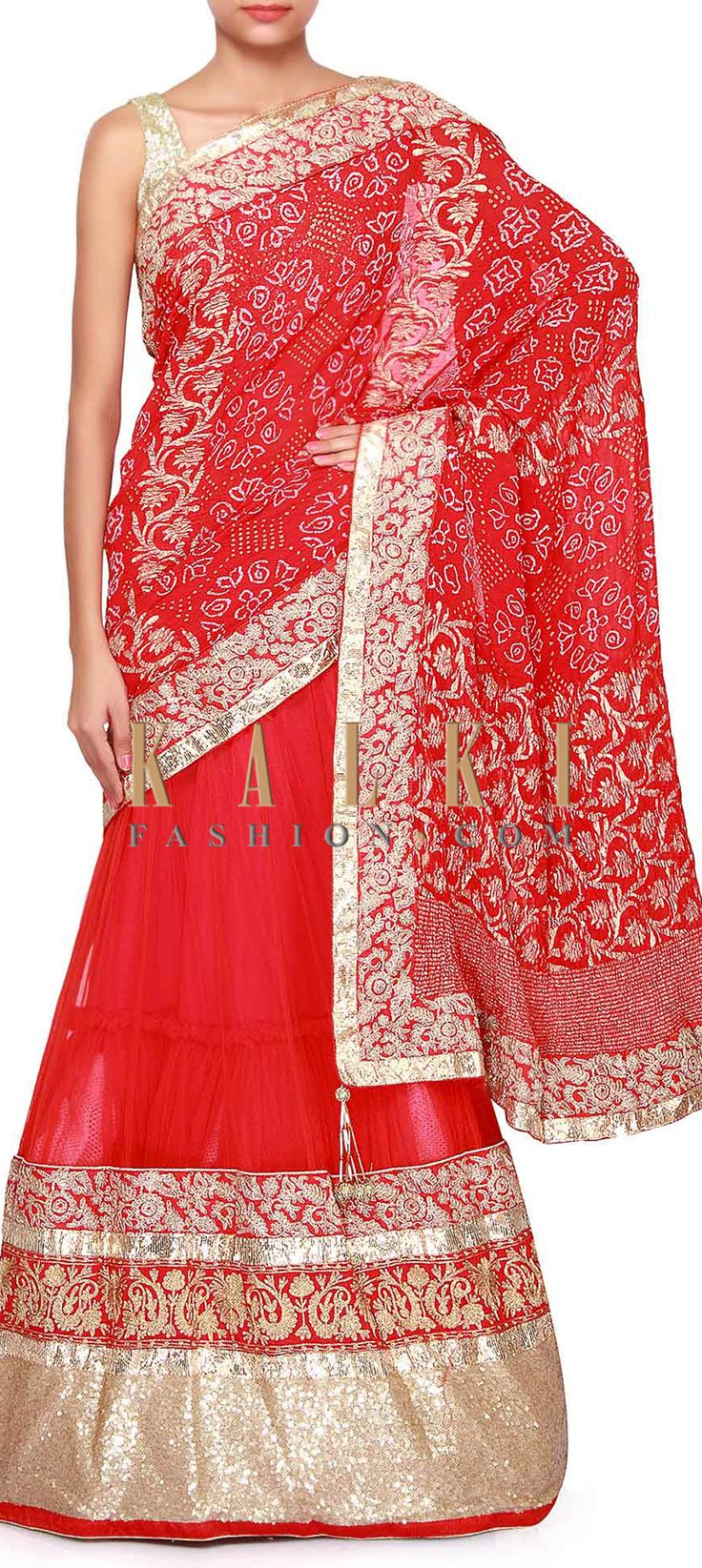 Buy Online from the link below. We ship worldwide (Free Shipping over US$100). Product SKU - 303086.Product Link - http://www.kalkifashion.com/red-lehenga-saree-adorn-in-sequin-embroidery-only-on-kalki.html