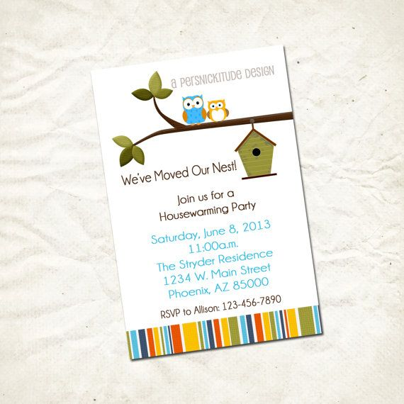 Owl Housewarming Party Invitation Print Yourself File